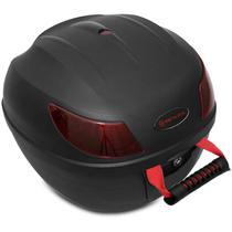 Baú Moto Bauleto 26 Litros Shutt Universal Preto Com Chave e Base de Fixação Refletores Vermelho 27 -