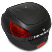 Baú Moto Bauleto 29 Litros Shutt Universal Preto e Aplique Carbon Com Chave e Base Fixação 28 30 -