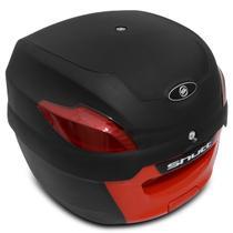 Baú Moto Bauleto 41 Litros Shutt Universal Preto e Vermelho Bagageiro Com Chave e Base de Fixação -