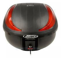 Bauleto Para Moto 40 Litros Glider Vermelho e Base Universal -