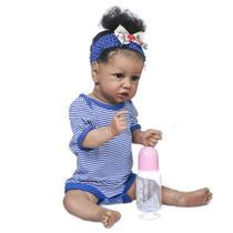 Bebê Boneca Reborn Menina Negra Corpo Vinil Com Acessórios - B06S - Lorben