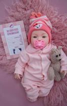 Bebê Estilo Reborn Menina Realista Rosa Com Acessórios - Sonho De Criança