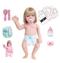 Bebê Reborn 100% de silicone Pode dar Banho Loira 16 Itens - Sid-Nyl
