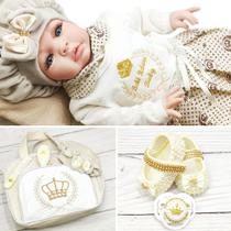 Bebê Reborn 21 Itens Princesa Boneca Senta Silicone Bolsa - Bebe Reborn Baby