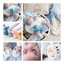 Bebê Reborn 21 Itens Princesa Boneca Senta Silicone Bolsa Loira azul - Meu Xodó