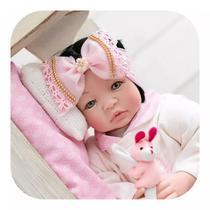 Bebê Reborn 21 Itens Princesa Boneca Senta Silicone Bolsa Morena rosa - Meu Xodó