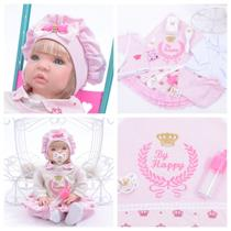Bebê Reborn 21 Itens Princesa Boneca Senta Silicone Bolsa - Sid Nyl