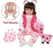 Bebe Reborn 48cm  100% Corpo de Silicone  Realista  Baby Fashion  Girafa -
