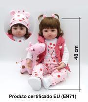 Bebe Reborn 48cm  Silicone e Tecido  Realista  Baby Fashion - Boneca E Bebê Reborn