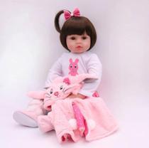 Bebe Reborn 48cm  Silicone e Tecido  Realista  Baby Fashion -