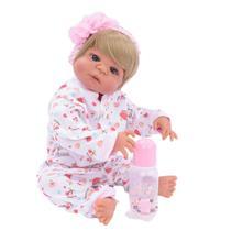Bebê Reborn de Silicone Loira com Olhos Azuis New Happy -