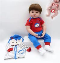 Bebe Reborn Menino 48cm  100% Corpo de Silicone  Realista  Baby Fashion Azul -