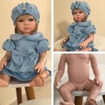 Bebê Reborn Princesa Loira Corpo Silicone Com Vários Acessórios - Sonho De Criança