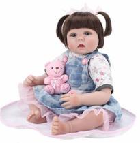 Bebê Reborn Realista Linda Modelo Vestido Azul Ursinho -