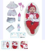 Bebê Tipo Reborn Barato Menina Corpo de Silicone 14 itens - pode dar banho - Feito No Céu