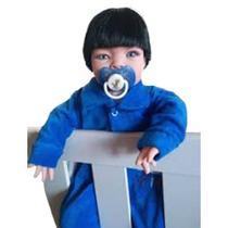 Bebê Tipo Reborn Menino Moreno Azul com Acessórios - Sonho De Criança