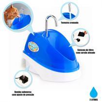 Bebedouro para Caes e Gatos Fonte Eletrica Bivolt 2 Litros Azul  Truqys -