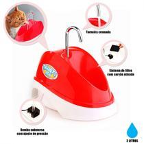 Bebedouro para Caes e Gatos Fonte Eletrica Bivolt 2 Litros Vermelha  Truqys -