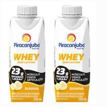 Bebida Láctea Whey Zero Lactose Piracanjuba Sabor Banana 250 ml - Kit 02 Unidades -