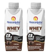 Bebida Láctea Whey Zero Lactose Piracanjuba Sabor Cacau 250 ml - Kit 02 Unidades -