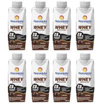 Bebida Láctea Whey Zero Lactose Piracanjuba Sabor Cacau 250 ml - Kit 08 Unidades -