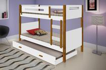 Beliche heloísa com cama auxiliar pés em madeira - Casa e Bebê shop
