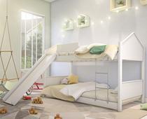 Beliche Juvenil Casinha Branca com Escorregador - Mais de Casa