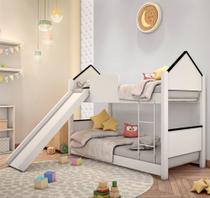 Beliche Mini Cama Casinha Adesivada Branca e Preta com Escorregador - Mais De Casa