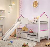 Beliche Mini Cama Casinha Adesivada Branca e Rosa com Escorregador - Mais De Casa