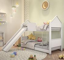 Beliche Mini Cama Casinha Branca com Escorregador e Colchões - Mais De Casa