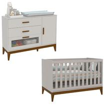Berço Americano e Cômoda infantil 1 Porta Nature Glass Cinza Eco Wood  Matic - Matic moveis