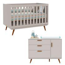 Berço Americano e Cômoda Infantil Retrô com Porta Cinza/Eco Wood - Matic - Matic moveis