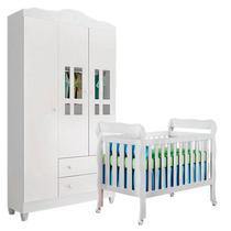 Berço Americano Lila e Guarda Roupa Infantil Ariel 3 Portas Branco Brilho - Carolina - Carolina Baby
