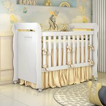 Berço Americano Mini Cama Provençal Lisa Branco Brilho Carolina Baby -