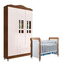 Berço Americano Mirelle e Guarda Roupa Ariel 3 Portas Branco Acetinado Amadeirado - Carolina - Carolina Baby