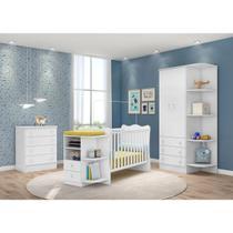 Berço cômado e roupeiro quarto infantil branco - qmovi -