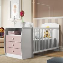 Berço Cômoda Multifuncional Colinho de mãe com colchão incluso Multimóveis Branco / Rosa -