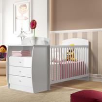 Berço Cômoda Multifuncional Colinho de mãe com colchão incluso Multimóveis Branco -