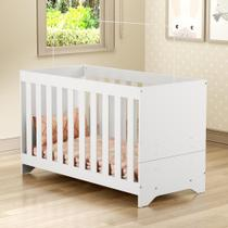 Berço Elza 3 em 1 vira cama com colchão incluso Multimóveis Branco Certificado Inmetro -