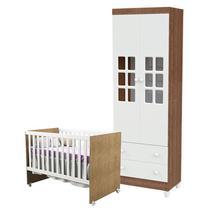 Berço Gabi e Guarda Roupa Infantil 2 Portas Mariah Branco Acetinado Amadeirado - Carolina - Carolina Baby