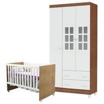 Berço Gabi e Guarda Roupa Infantil 3 Portas Mariah Branco Acetinado Amadeirado - Carolina - Carolina Baby