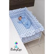 Berço Para Lateral De Cama Acoplado Enxoval Bercinho Azul - Baby Lee
