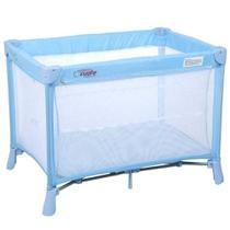 Berço portátil para bebê Burigotto New Cuore azul base acolchoada -