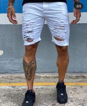 Bermuda jeans  destroyed/ City Denim/masculino tamnho 46/ cor branco detonada -