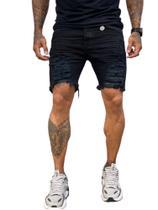 Bermuda jeans  detonada / City Denim/masculino tamanho 40/ cor preto detonada -