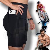 Bermuda Short Compressão Com Bolso Ciclismo Corrida Fitness - Shapewear