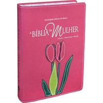 Bíblia da Mulher RA Grande Bordas Floridas Tulipa Relevo - Sbb -