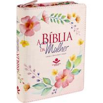 Bíblia da Mulher Tecido Média com Zíper  Florida  ARC - Sbb
