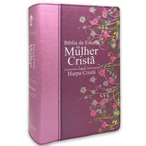 Bíblia de Estudo da Mulher Cristã c/harpa - Pink - CPAD