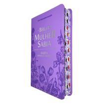 Bíblia de Estudo da Mulher Sábia Harpa Lilás Flores - CPP -